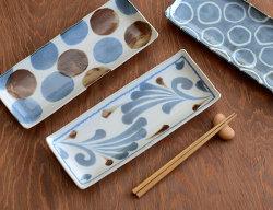 Brush Blue 長角皿